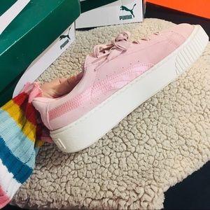 New puma platform pink Suede